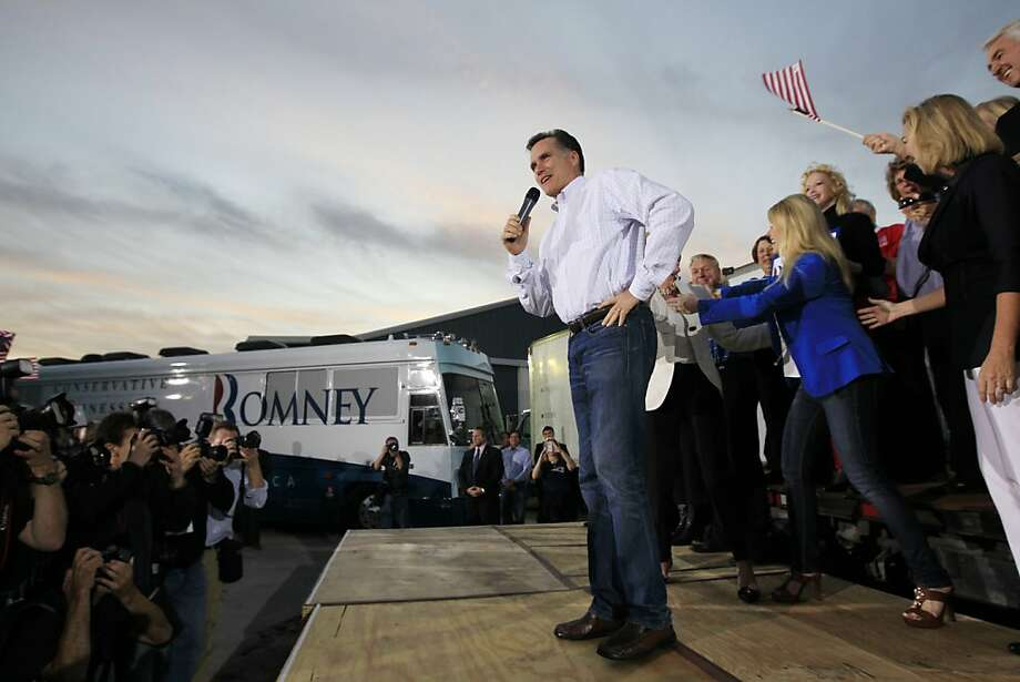 Republican presidential candidate, former Massachusetts Gov. Mitt Romney, campaigns at Allstar Building Materials in Ormond Beach, Fla., Sunday, Jan. 22, 2012. (AP Photo/Charles Dharapak) Photo: Charles Dharapak, Associated Press