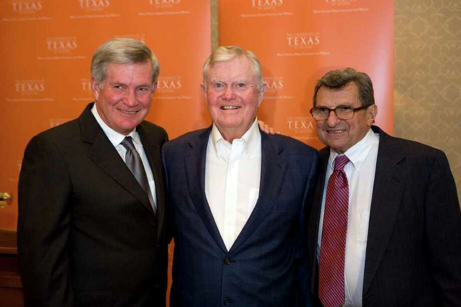 Elite company (from left): University of Texas football coach Mack Brown, former UT football coach Darrell Royal and Penn State football coach Joe Paterno.  The photo can be credited to UT Athletics Photography. It was taken in May 2008 when Paterno was the keynote speaker at a University of Texas event at which Mack Brown was presented with The Mack Brown Distinguished Chair for Leadership in Global Affairs.