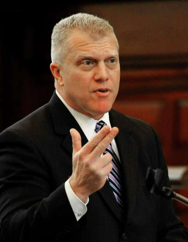 Prosecutor Trey Smith gives his opening statement during ballot fraud case at the Rensselear County Courthouse in Troy, N.Y. Jan. 24, 2012.  (Skip Dickstein / Times Union) Photo: SKIP DICKSTEIN / 2011