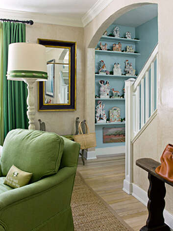 "Include Some Whimsy""Little surprises keep a house from becoming too serious,"" says contributing editor Frances Schultz. ""It's fun to put items in unexpected places."" In her Long Island cottage, she perked up the foot of the stairs with an inherited collection of Staffordshire figures. Trevor Tondro"