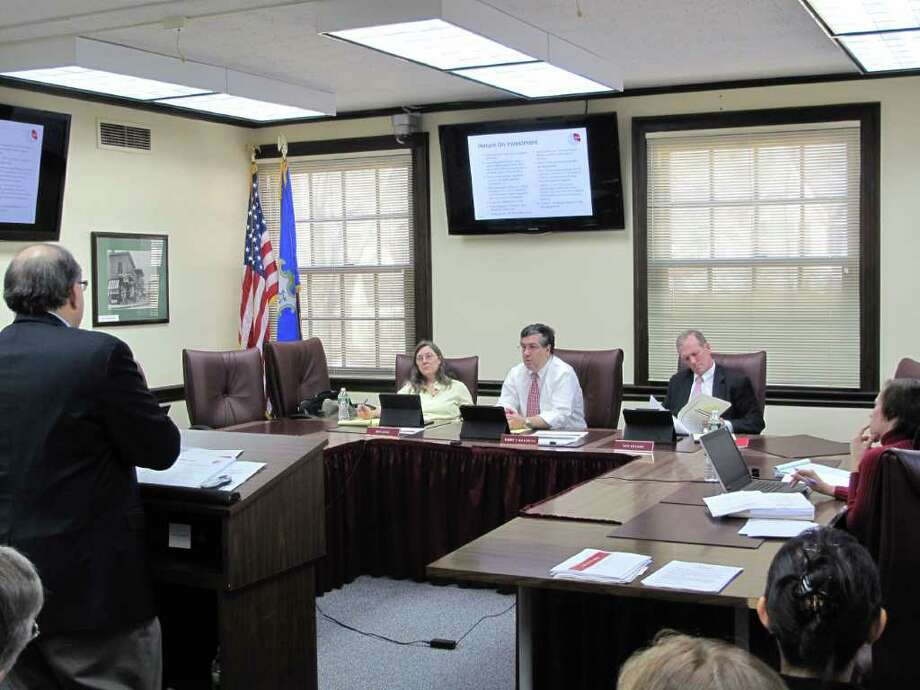 The Board of Selectmen hear the Board of Education's budget request Tuesday morning. Photo: Paresh Jha