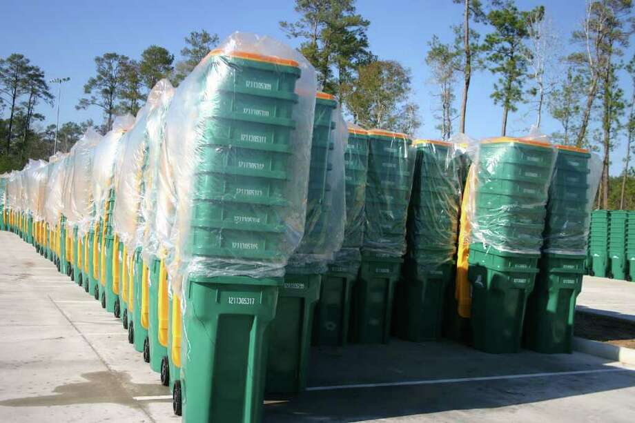 Recycling carts are staged at Alden Bridge Sports Park in preparation for delivery to residents. All deliveries will be completed by the end of January. Photo: Handout