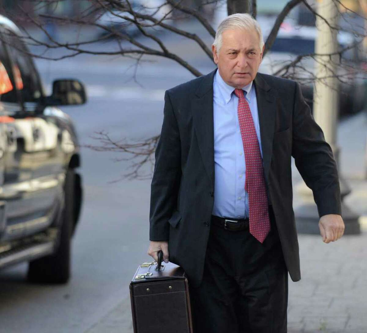 Defense Attorney William Dreyer enters the Federal Courthouse in Albany, N.Y. Nov. 13, 2009 for the continuation of the Bruno trial. (Skip Dickstein / Times Union archive)