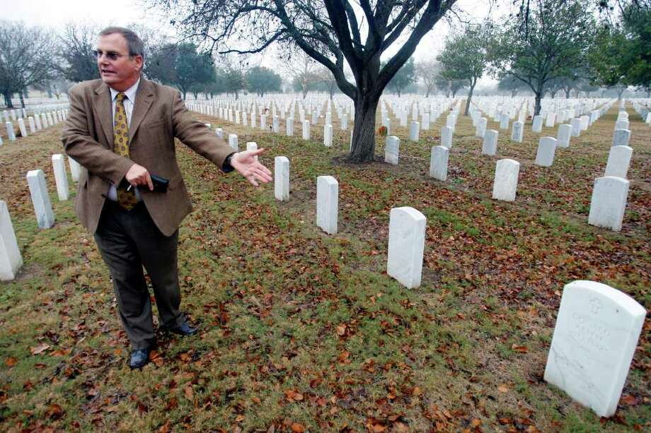 "Pete Young, Fort Sam Houston National Cemetery's assistant director, said that last summer, a foreman suspected one row of markers was incorrect while using a new map of the grounds to conduct an audit. Young said, ""When this (problem with mismarked graves) got brought to me I'm like, 'Oh, Lord.'"" The location of the affected graves has not been made public. Photo: Wluther@express-news.net, William Luther / © 2012 SAN ANTONIO EXPRESS-NEWS"