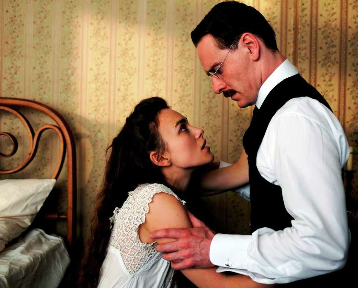 Keira Knightley (as Sabina Spielrein) and Michael Fassbender (playing Carl Jung) star in