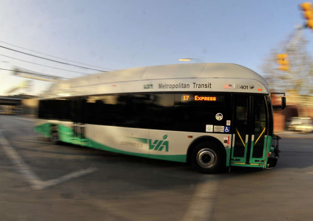 VIA buses make their stop S. San Sabo and Dolorosa St. Monday afternoon. VIA Transit ridership is up 6% this year.