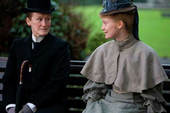 "Glenn Close (left, as the title charatcer) with Mia Wasikowska in ""Albert Nobbs."""
