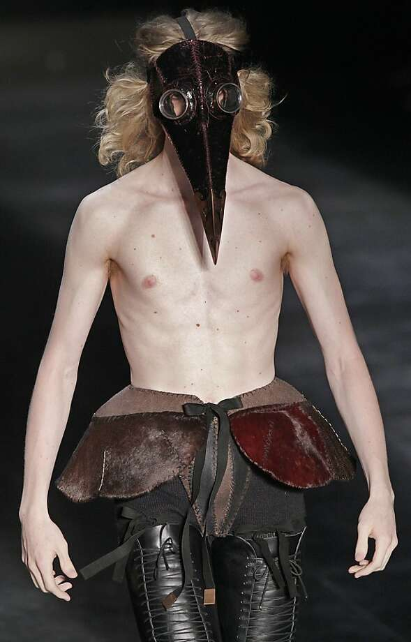 Get medieval on your wardrobe: This creation by Joao Pimenta for Sao Paulo Fashion Week goes perfect with an outbreak of plague. Photo: Andre Penner, Associated Press