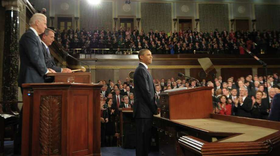 President Barack Obama's State of the Union address listed many goals, such as curbing oil industry subsidies, which are likely unattainable before the election. Photo: SAUL LOEB / AFP