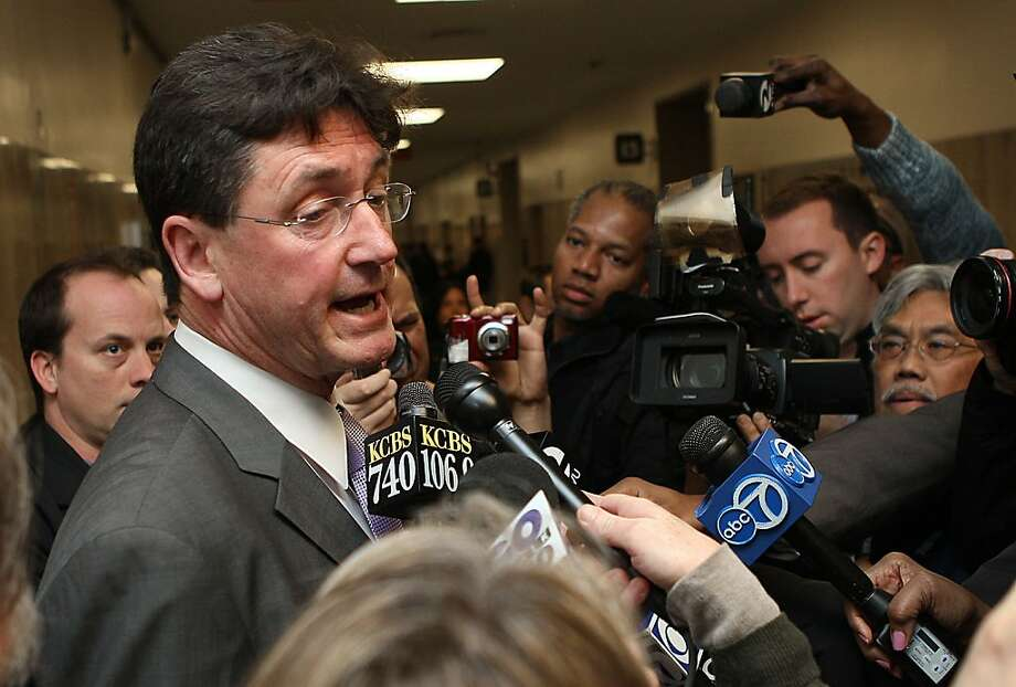 Ross Mirkarimi's lawyer Robert Waggener talks to press after the hearing at the Hall of Justice in San Francisco,  Calif., on Monday, January 23, 2012. Photo: Liz Hafalia, The Chronicle