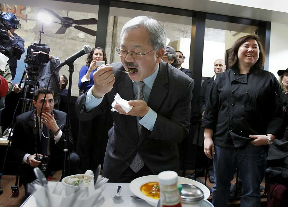 Mayor Ed Lee sampled some of the fare at Brenda's, while owner Brenda Buenviaje (right) watched. San Francisco Mayor Ed Lee announced a new loan program for small businesses in the city at the popular restaurant called Brenda's on Polk Street.