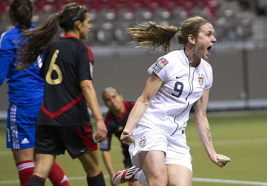 VANCOUVER, CANADA - JANUARY 24:  Heather O'Reilly #9 of the United States celebrates after scoring against Mexico during first half of the 2012 CONCACAF Wome's Olympic Qualifying Tournament at BC Place on January 24, 2012 in Vancouver, British Columbia, Canada.  (Photo by Rich Lam/Getty Images) Photo: Rich Lam, Getty Images