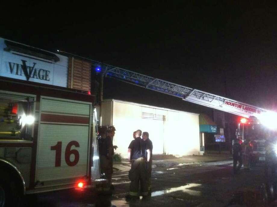 Fire damages Vintage bar on Kipling near Shepherd early Wednesday morning. Photo: Dale Lezon
