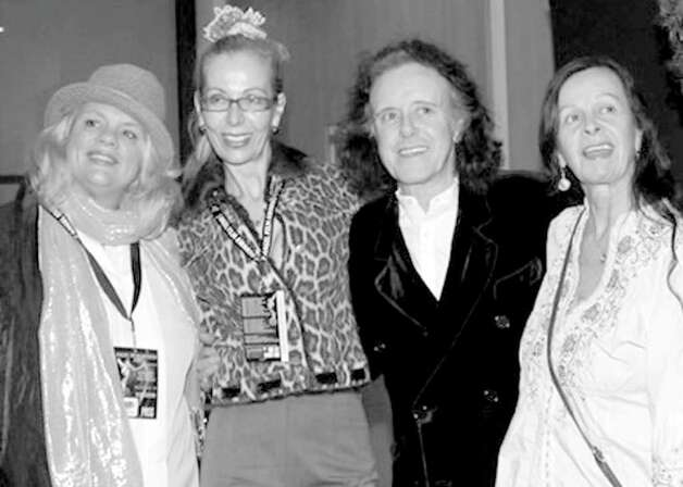 "Greenwich resident Joni Steele Kimberlin, left, brought her film, ""Get Real! Wise Women Speak,"" to the Monaco Film Festival where she was presented with a Monaco Angel Awards by Awards Director Rosana Golden, second from left. Also on hand in Monaco were singer Donovan Leitch and wife Linda Leitch, who are both featured in the film. Photo: Contributed Photo"