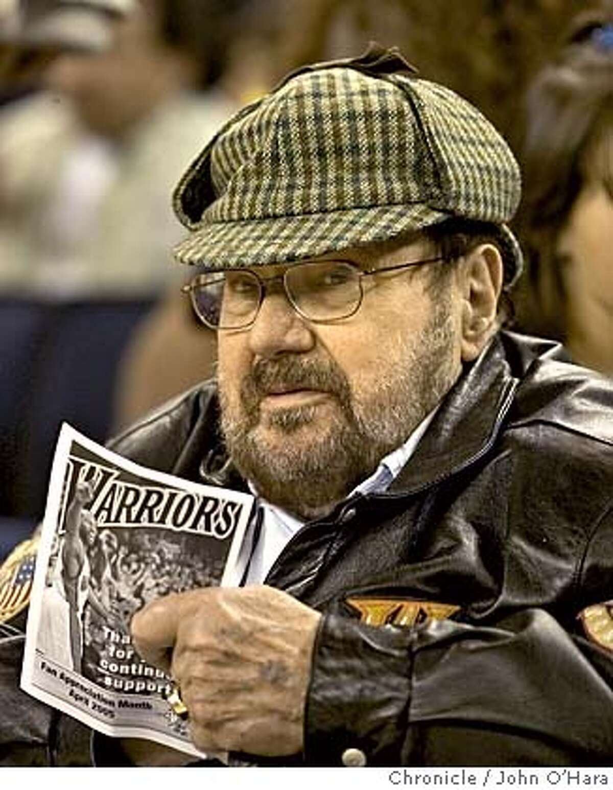 Oakland Arena, Golden State Warriors Franklin Mieuli, former Warrior owner . Owner of World Champion Warriors of 30 years or so ago. Warriors V/S Utah Jazz in last game of the season. Photo/John O'hara