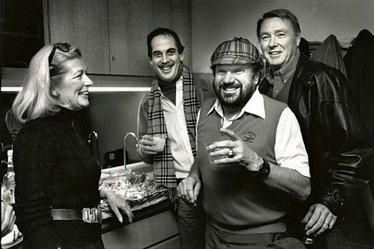 former warriors owner Franklin Mieuli (in hat) at Candlestick Park luxury boxes in 1988. also in photo are Pat Clisura (left), Rob Mulhern (mustache) and Claude Jarman