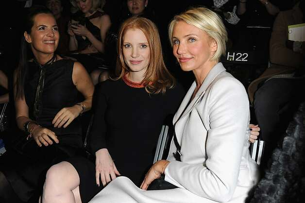 Jessica Chastain and Cameron Diaz attend the Giorgio Armani Prive Haute-Couture Spring / Summer 2012 show as part of Paris Fashion Week at Grand Palais on January 24, 2012 in Paris, France. Photo: Pascal Le Segretain, Getty Images