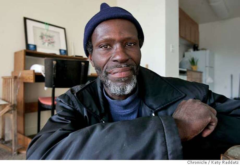 HOMELESS21050_RAD.JPG Folsom Dore Apartments officially opened today--first complex in the city to house the homeless that includes a mix of flats for the merely poor, the disabled homeless, and the chronically homeless. SHOWN: We photograph Roosevelt Jackson in his room--he was chronically homeless in the Bayview district, and says that he can now love the rain (because he doesn' t have to get wet). Photo taken on 4/20/05, in SAN FRANCISCO, CA.  By Katy Raddatz / The San Francisco Chronicle MANDATORY CREDIT FOR PHOTOG AND SF CHRONICLE/ -MAGS OUT Photo: Katy Raddatz
