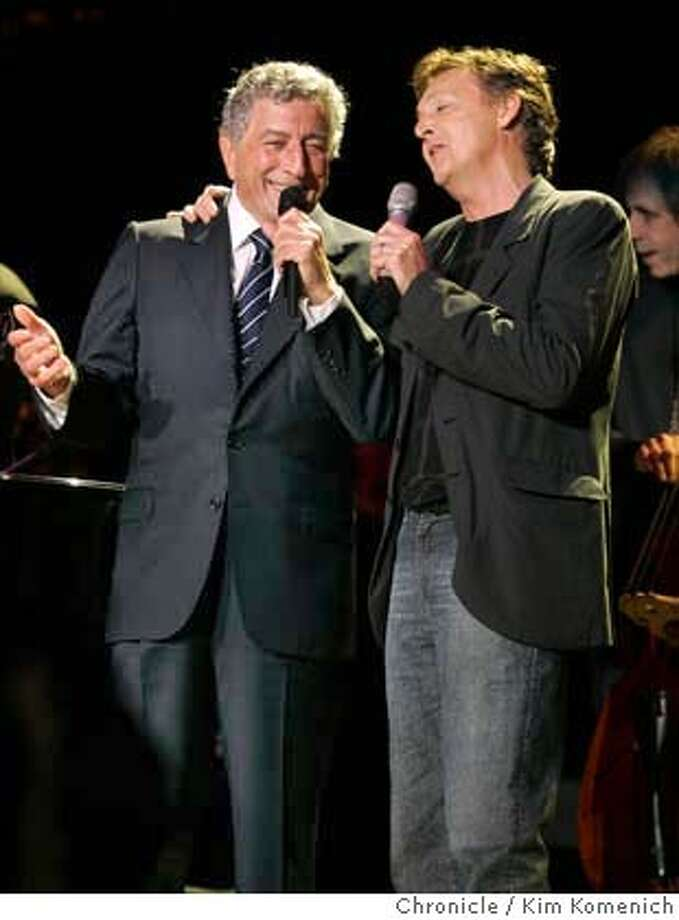 BRIDGE25_244_kk.jpg  Tony Bennett (L) and Paul McCartney sing at the annual Bridge Concert at Shoreline Amphitheater.  Photo by Kim Komenich in Mountain View. Datebook#Datebook#Chronicle##ALL#Advance##0422429580 Photo: Kim Komenich