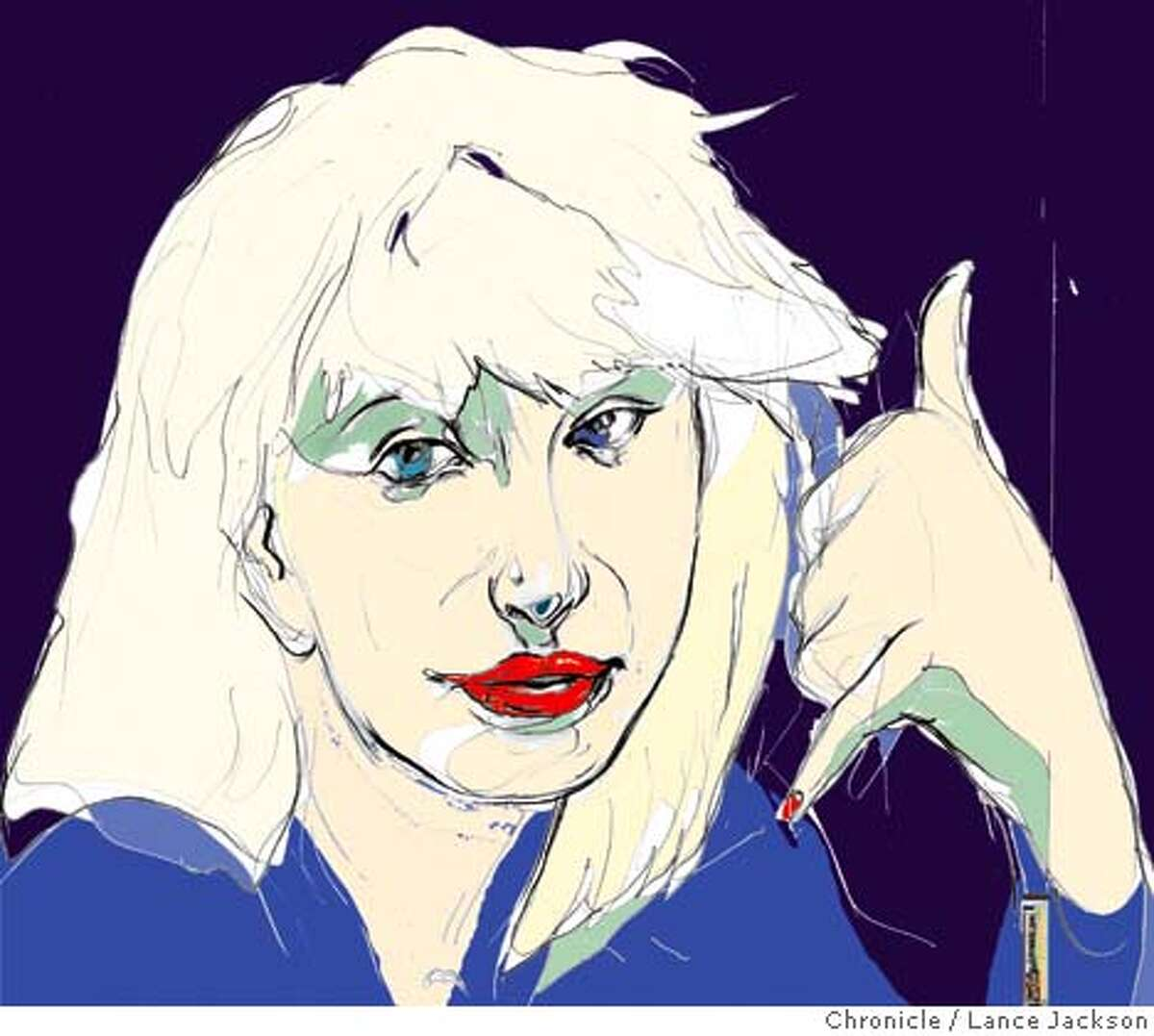 llustration By Lance Jackson Datebook 2nd of three sketch protraits of Courtney Love