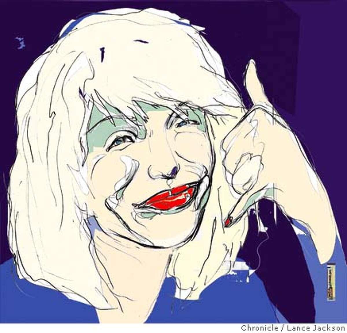 Illustration By Lance Jackson Datebook 1st of three sketch protraits of Courtney Love