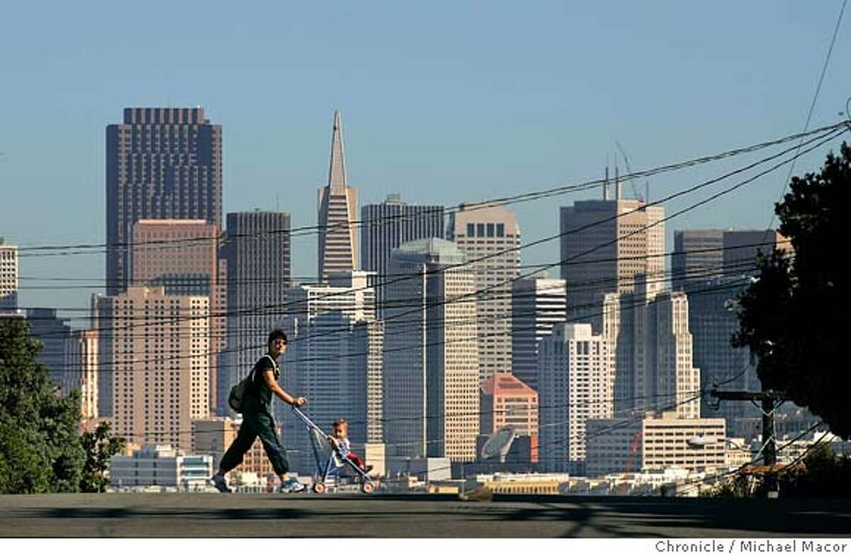 The City Skyline, as seen from Potrero Hill. The Skyline. Reinventing the city. A look at the City of San Francisco 15 years after the Loma Prieta Eathquake that changed San Francisco forever. on 8/26/04. Michael Macor / San Francisco Chronicle