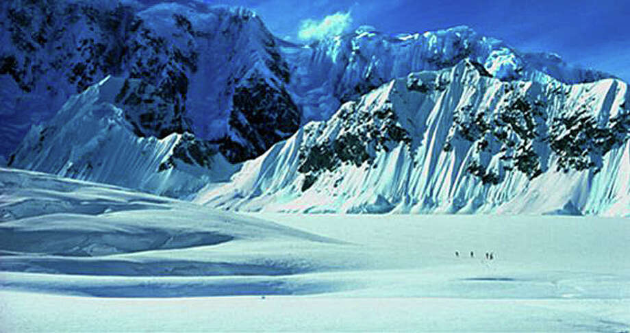 """Trek to Denali,"" climbers on Kahiltna Glacier, McKinley Range, Alaska. Photo: Contributed Photo"