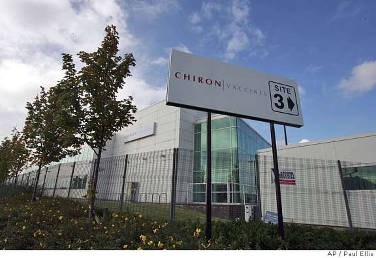 The Chiron vaccine factory in Liverpool, England, is seen Friday Oct.8 2004 Stunned U.S. health officials met with British regulators Thursday to discuss the suspension of flu vaccine production that has slashed supplies across the United States and planned to inspect the British factory to see whether any impounded vaccine could be salvaged.(AP Photo/Paul Ellis)