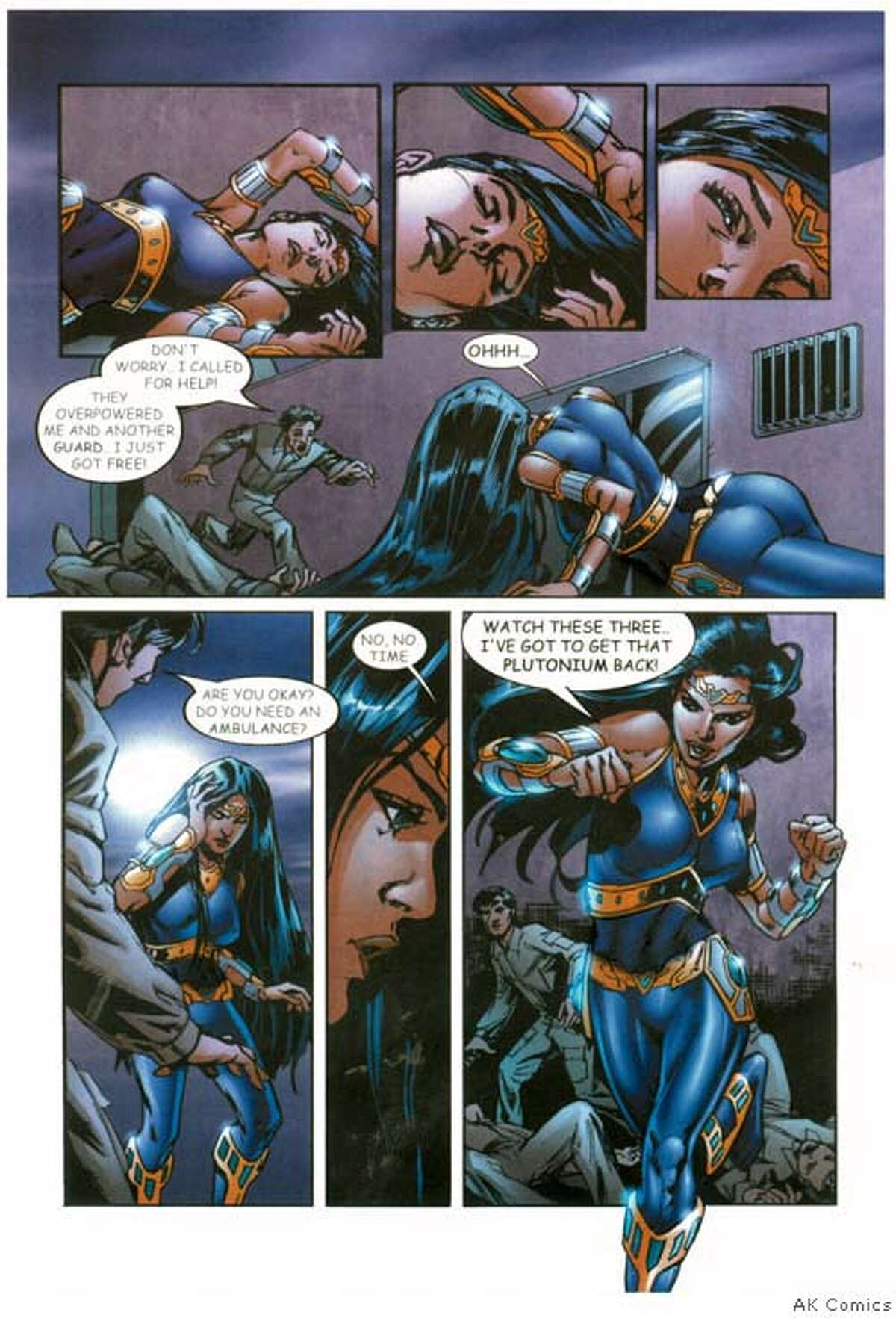 Jalila tries to track down plutonium thieves in a new line of comics featuring Arab superheroes. Courtesy of AK Comics Datebook#Datebook#Chronicle#10/14/2004#ALL#5star##0422354509