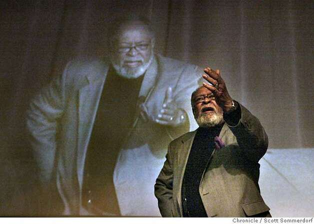 Cecil Williams and his larger-than-life (projected closed-circuit TV) image are shown addressing a question during a question and answer forum held at Angelo State University in San Angelo. The forum was held to address some of the issues about race in San Angelo. Syndicated columnist Bill Maxwell was the moderator of the discussion. SF CHRONICLE PHOTO BY SCOTT SOMMERDORF Photo: Scs