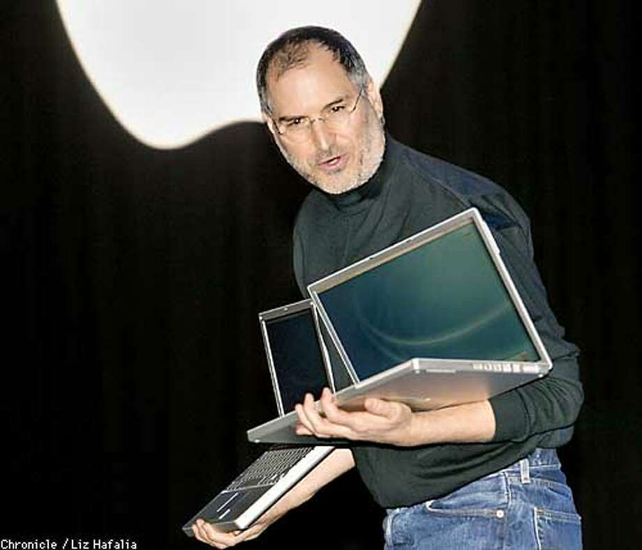 Steve Jobs introduces what he said was the smallest size and biggest screened notebooks on the market during his keynote speech at the Macworld conference & expo in San Francisco. (PHOTOGRAPHED BY LIZ HAFALIA/THE SAN FRANCISCO CHRONICLE) Photo: LIZ HAFALIA