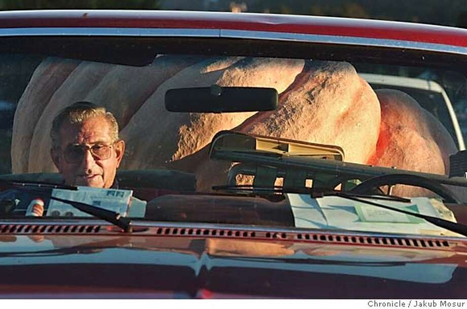 Pumpkin12_01.JPG Ray Barenchi, of Santa Rosa, waits in his truck before weighing his pumpkin at the 31st annual Safeway World Championship Pumpkin Weigh-Off in Half Moon Bay on Monday, October 11, 2004. Barenchi's pumpkin was measured at 1,027 pounds.  JAKUB MOSUR / The Chronicle MANDATORY CREDIT FOR PHOTOG AND SF CHRONICLE/ -MAGS OUT Metro#Metro#Chronicle#10/12/2004#ALL#5star##0422407940 Photo: JAKUB MOSUR
