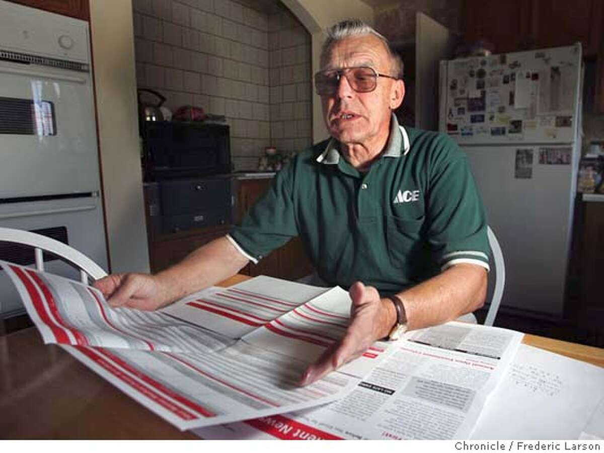 HEALTH_289_fl.jpg Ralph Fitzsimons 70, of Fremont, retired from Lucent Technologies' San Ramon office in 2001 after 44 years with the company and its predecessor, expecting that his benefits were secure. But that wasn't the case as her looks through new benefits package mailed to his home in Fremont. 9/27/04 Fremont CA Frederic Larson The San Francisco Chronicle Business#Business#Chronicle#10/12/2004#ALL#5star##0422376816