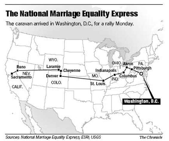 The National Marriage Equality Express. Chronicle Graphic