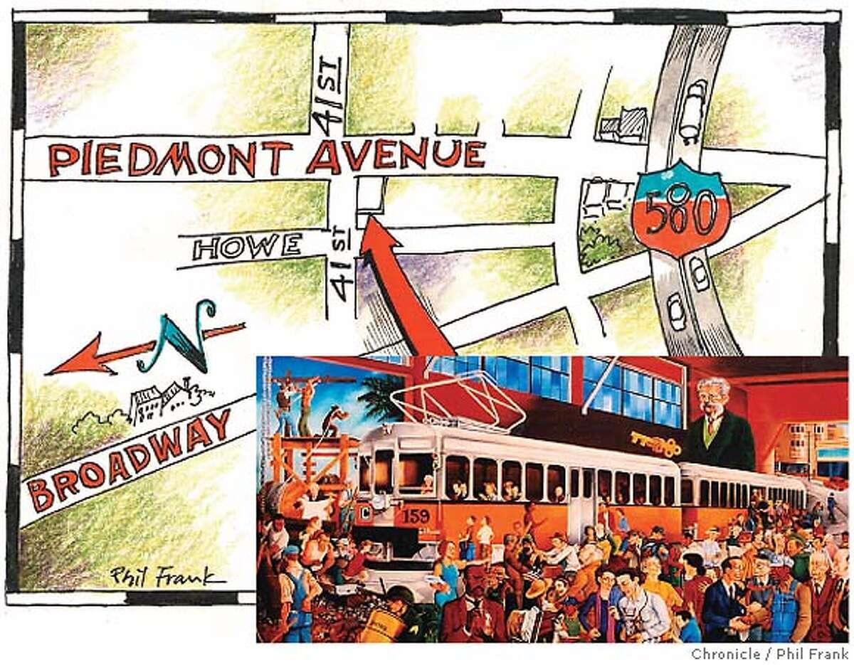 Oakland's Piedmont neighborhood. Chronicle illustration by Phil Frank