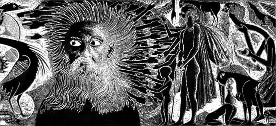 "Mustafa Al Hallaj ""Self-Portrait as God, the Devil, and Man"", 2000, Masonite- cut print, 8 rows, each 14"" x 37'"