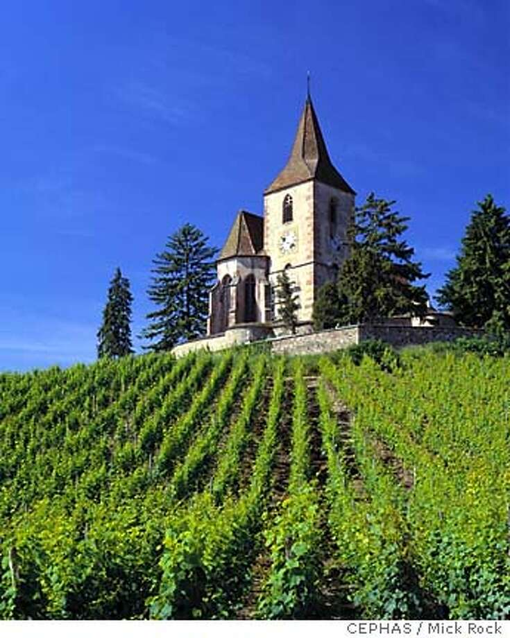 The 15th-century fortified church in the vineyards at Hunawihr, Haut-Rhin, France. [Alsace]  Photo by Mick Rock/CEPHAS  ONE TIME RIGHTS ONLY