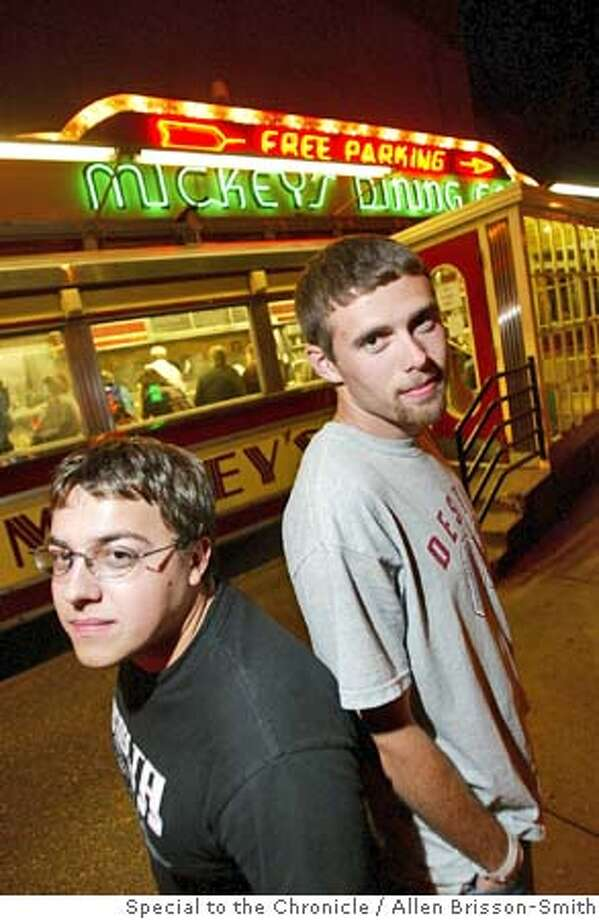 VOTE10.JPG Brett Percival, 20, of Rochester, MN, and friend Chris Knoepke, 19, Rochester, MN, stand outside of Mickey's Dining Car, in St. Paul, after attending the Vote for Change concert in St. Paul, Minnesota, October 5, 2004. The two differ in political views. Knoepke is undecided while Percival favors Bush. Allen Brisson-Smith /Special To The Chronicle MANDATORY CREDIT FOR PHOTOG AND SF CHRONICLE/ -MAGS OUT Nation#MainNews#Chronicle#10/7/2004#ALL#5star##0422398363 Nation#MainNews#Chronicle#10/8/2004#ALL#5star##0422398363