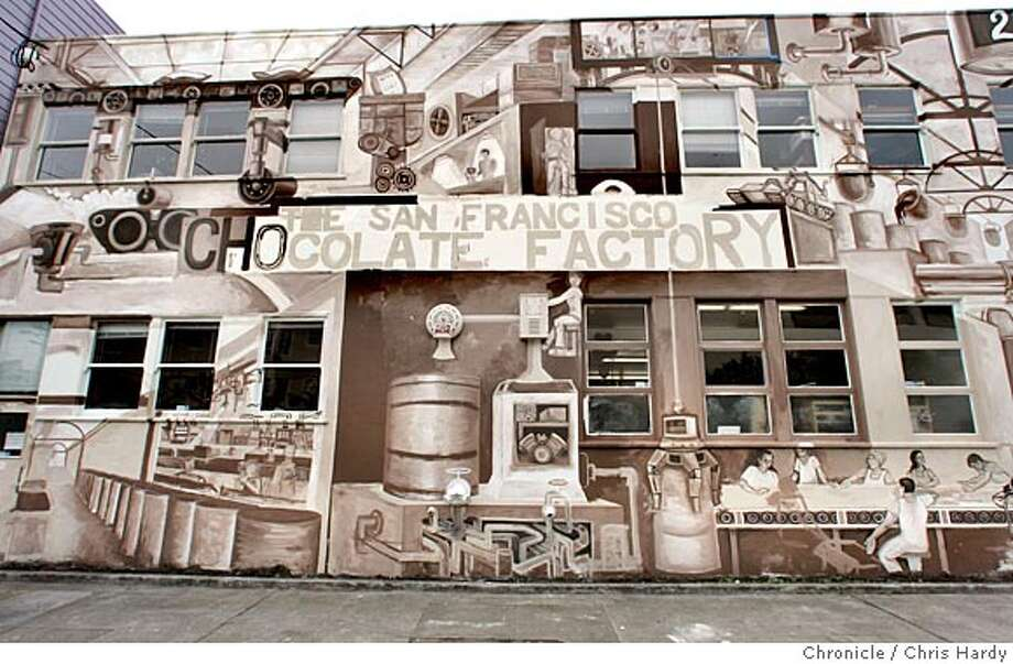 whatsnew23mural_ch_006.jpg  Unfinished mural on the outside of San Francisco Chocolate Factory on 12th st done by Jerry Warmsley Jr. in San Francisco  3/21/05 Chris Hardy / San Francisco Chronicle Photo: Chris Hardy