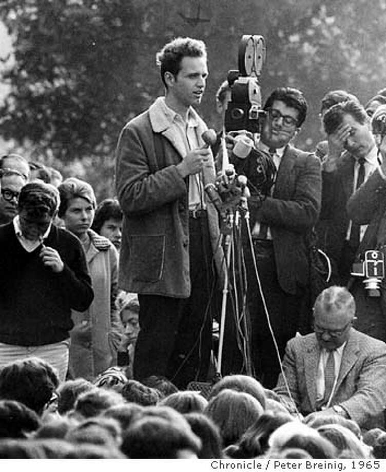 Mario Savio speaks at noon rally. on 10/5/04 in . / HO