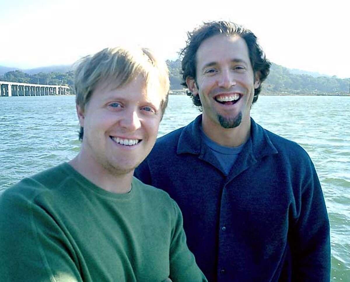 GROUPER05.JPG David Samuel, left, president of Grouper Networks Inc. and CEO Josh Felser. / HANDOUT Business#Business#Chronicle#10/5/2004#ALL#5star##0422395299