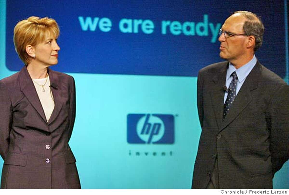 HP08c-C-07MAY02-BU-FRL: The formal launch of new and bigger HP at the HP Executive Briefing Center in Cupertino. Carly Fiorina and Michael Capellas talk to the press about the new improved HP. Chronicle photo by Frederic Larson Business#Business#Chronicle#10/3/2004#ALL#Advance#J7#421873054