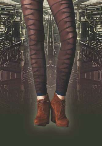 "Yet another current legwear trend from Invista is this look called ""Metropolis,"" inspired by the industrial revolution"