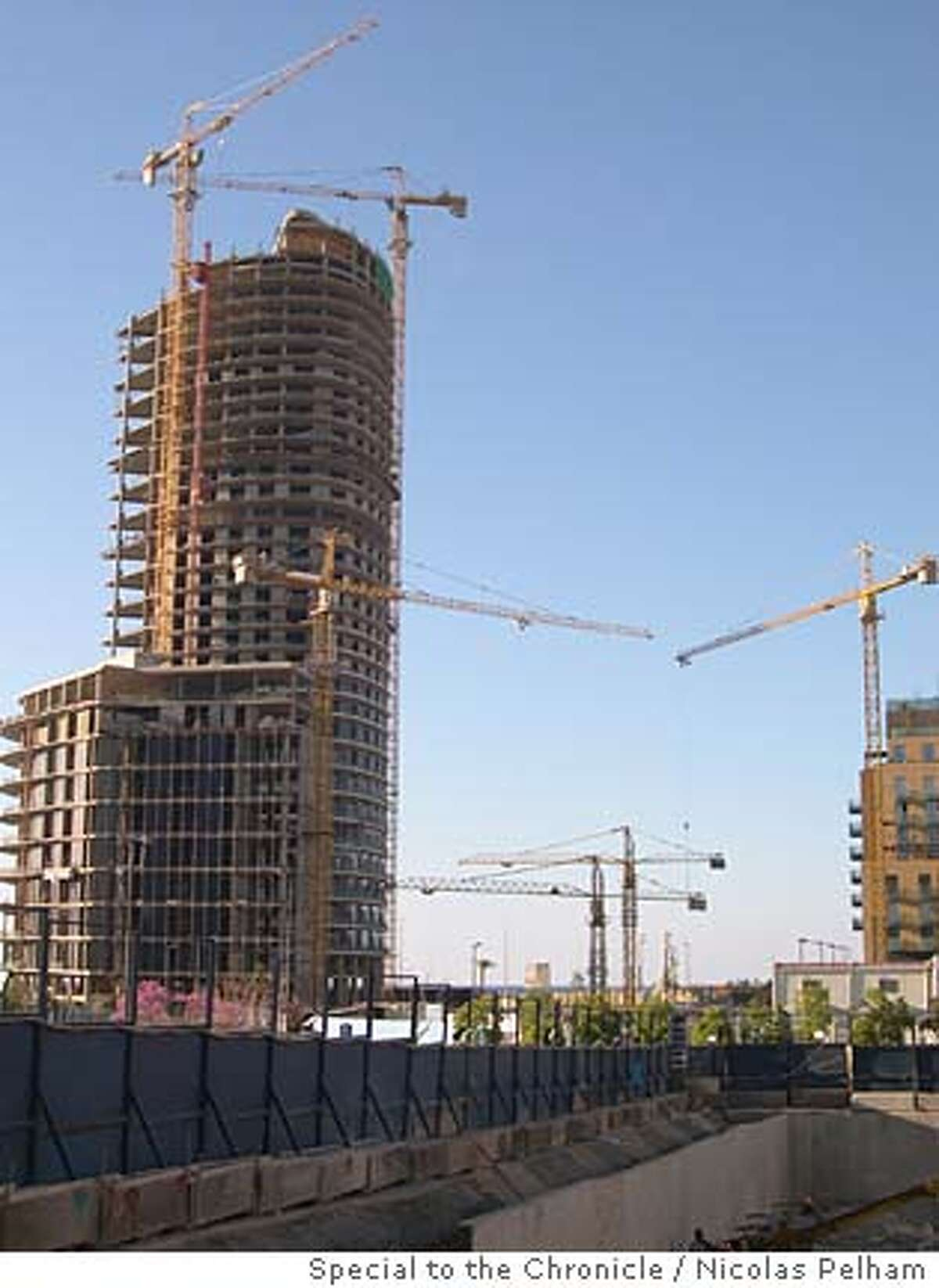 Cranes overhanging an apartment block shot from the foundations of the Hilton Hotel in downtown Beirut. Photo by Nicolas Pelham/Special to the Chronicle