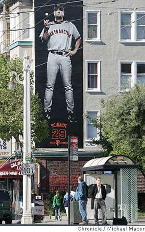 SF Giants Pitcher, Jason Schmidt, towers above the street near the intersection of Van Ness and Clay. Barry Bonds remains an integral part of the San Francisco Giants' marketing campaign, notwithstanding the allegations that are swirling around him. Some marketing professionals think it's appropriate to keep some distance from someone who is a lightening rod, but the Giants are sticking by their man, one of the best ballplayers ever.  A new outdoor ad campaign is being put up today. It shows four of the Giants. 3/24/05 Oakland, Ca Michael Macor / San Francisco Chronicle Photo: Michael Macor
