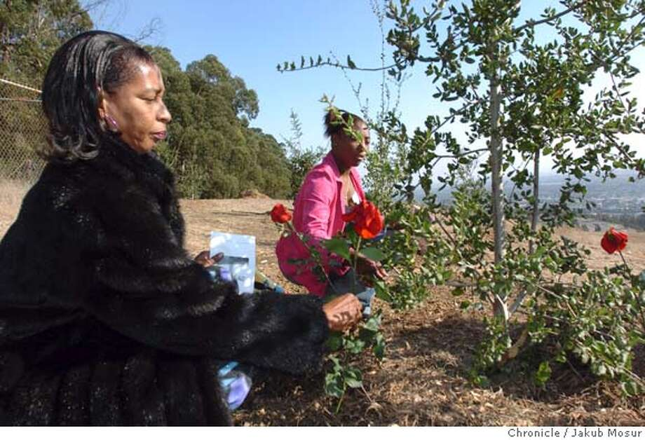 Faye Anderson puts a rose next to a newly planted tree dedicated to her 17-year-old son, Thomas Anderson, who was killed on Septemebr 2, 2004 during a Children's Memorial Grove Ceremony where Alameda County officials plant 16 trees, one for each child killed in the past year, at the Fairmont Ridge in San Leandro on Friday, October 1, 2004. Edna Johnson, 19 center, who was Thomas's girlfriend, also places a rose.  JAKUB MOSUR / The Chronicle Photo: JAKUB MOSUR