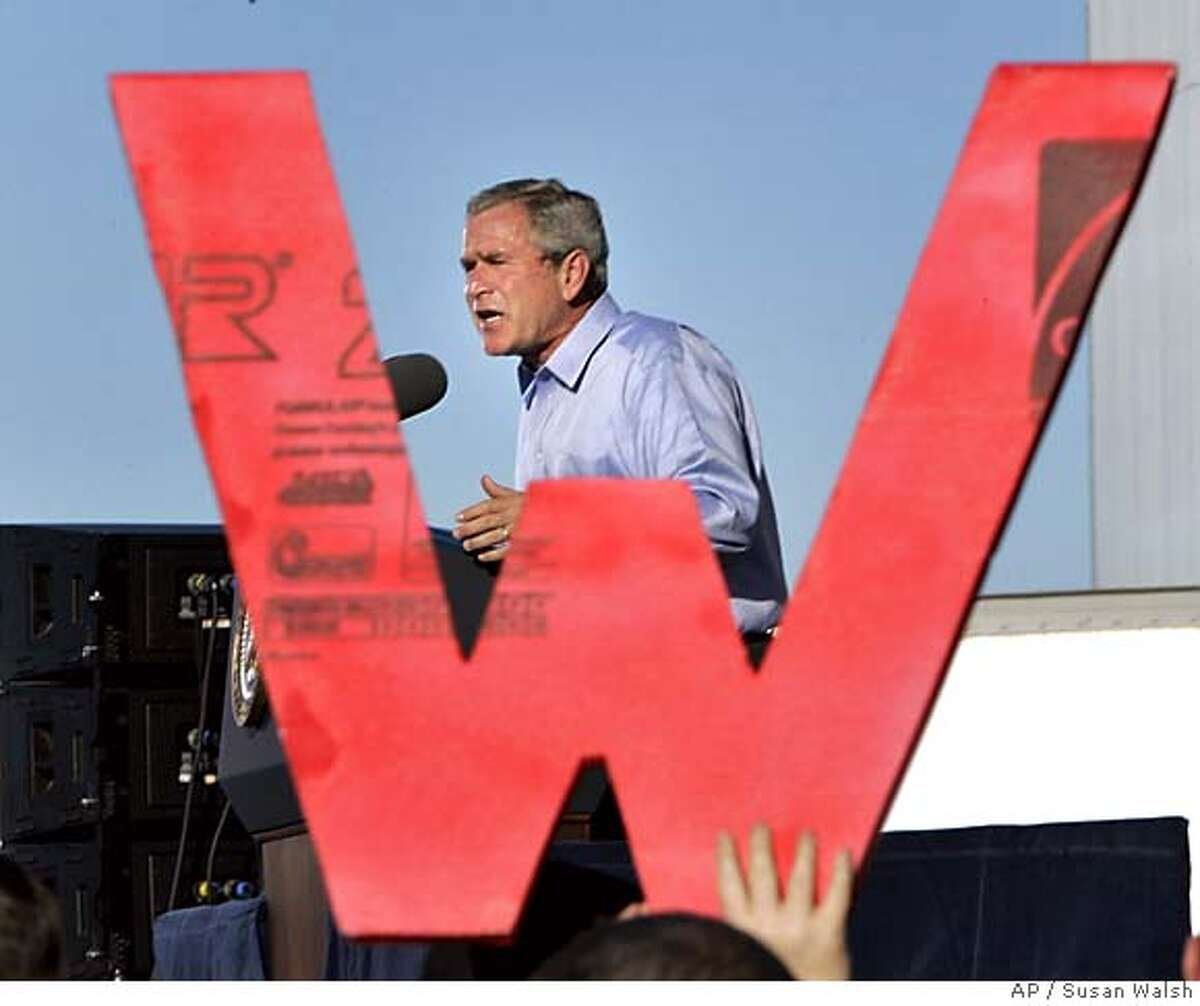 President Bush participates in a Maine Victory 2004 rally at the Bangor International Airport in Bangor, Maine, Thursday, Sept. 23, 2004. (AP Photo/Susan Walsh)