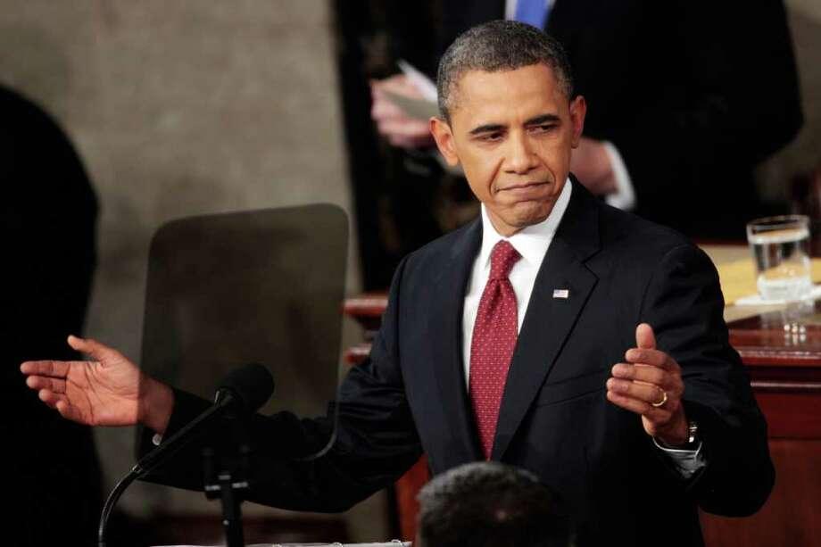 Barack Obama, durante su discurso del 24 de enero de 2012, en Washington, DC. Photo: Brendan Smialowski / 2012 Getty Images
