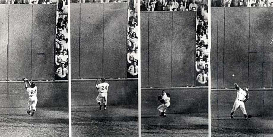 """Willie Mays making """"The Miracle Catch"""" in the 1954 World Series opener. Sports#Sports#Chronicle#9/28/2004#ALL#5star##0422377359"""