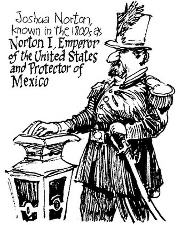 Joshua Norton, known in the 1800's as Norton I, Emperor of the United States and Protector of Mexico. Chronicle illustration by Phil Frank
